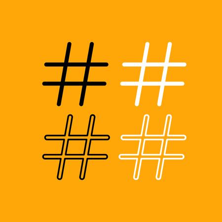 Hashtag it is set black and white icon . Illustration