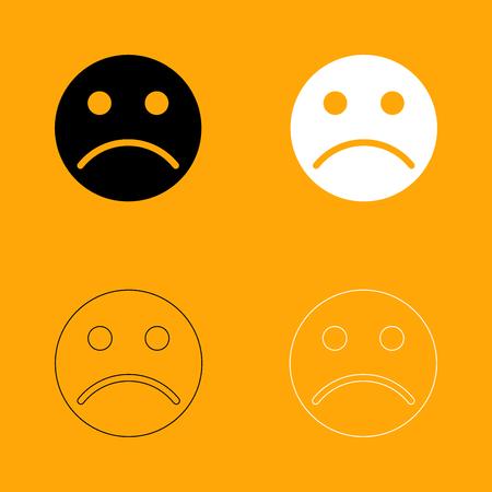 Sad emoticon it is set black and white icon .
