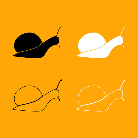 Snail silhouette it is set black and white icon . Illustration