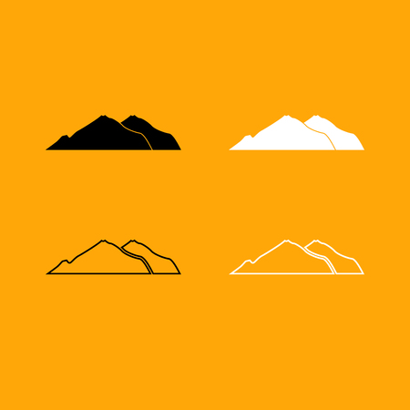 Mountain it is set black and white icon . Banco de Imagens - 87718180