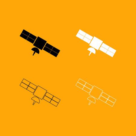 Satellite it is set black and white icon . Illustration