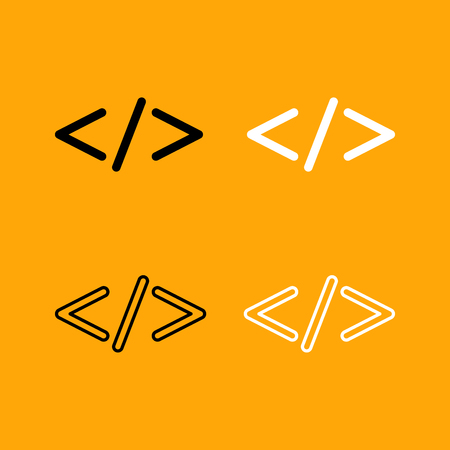 programming code: Symbol code  it is set black and white icon .