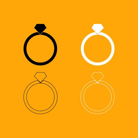 Ring it is set black and white icon . Illustration