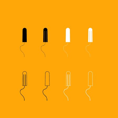 Women hygiene tampons it is set black and white icon .