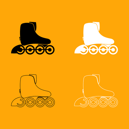 Roller skate it is set black and white icon .