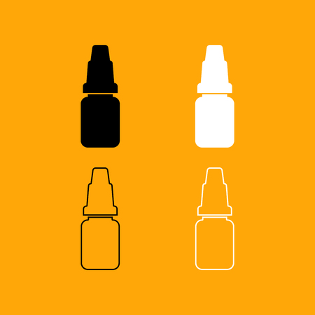 Eye drops it is set black and white icon .
