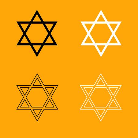 Jewish star of David it is set black and white icon .
