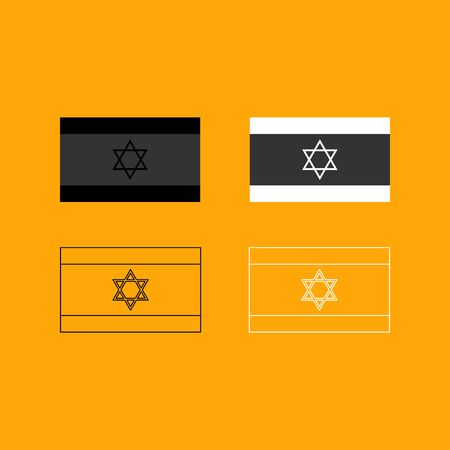 Flag of Israel it is set black and white icon .