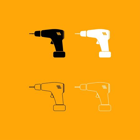 Screwdriver it is set black and white icon .