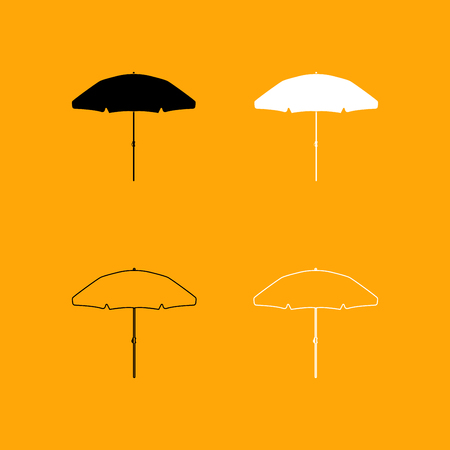black and white: Beach umbrella it is set black and white icon .
