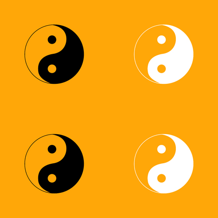 Yin Yang symbol it is set black and white icon .