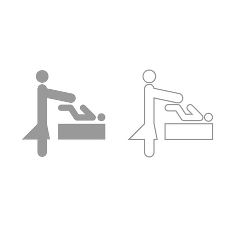 Woman and baby it is grey set icon .