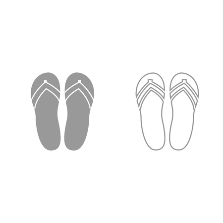 Beach slippers it is grey set icon .