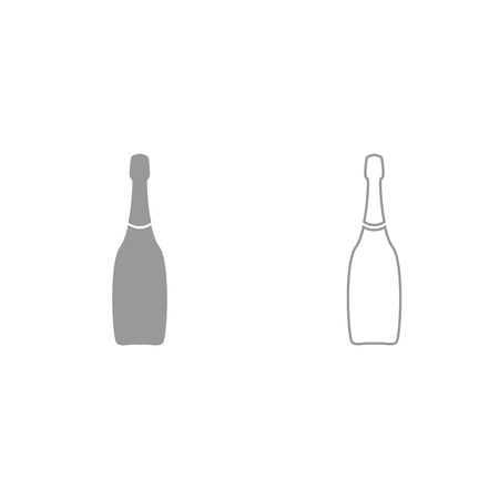 Champagne it is grey set icon .