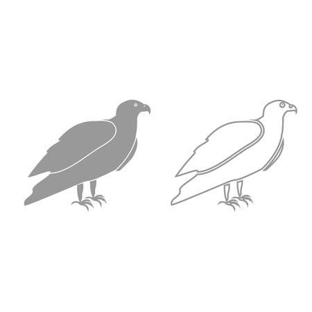 goshawk: Eagle it is grey set icon .