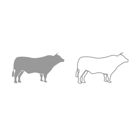 Bull it is grey set icon . Illustration