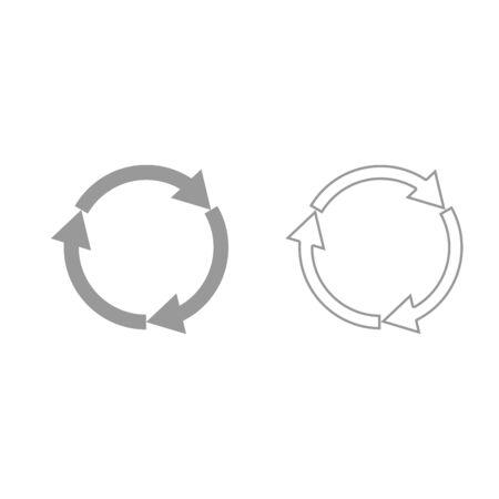 Three circle arrows it is grey set icon .