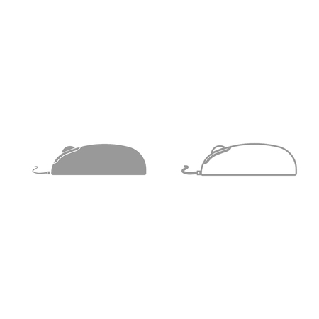 Computer mouse it is grey set icon . Illustration