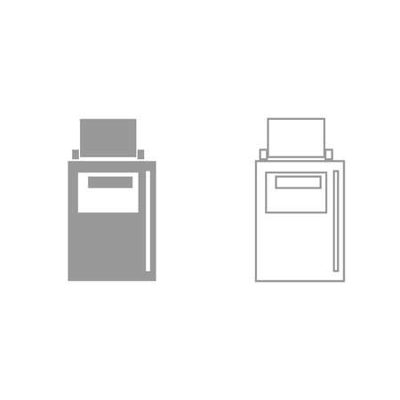 Hand terminal it is grey set icon . Vectores