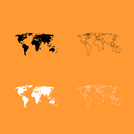 World map it is black and white set icon .