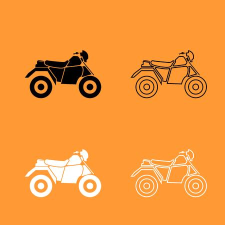 ATV motorcycle on four wheels it is black and white set icon . Illustration