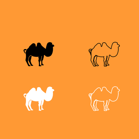 Camel it is black and white set icon .