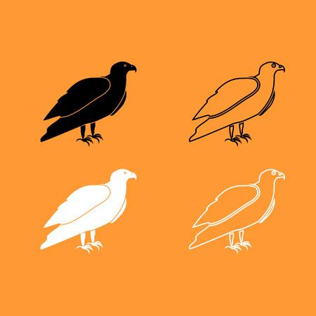 Eagle it is black and white set icon . Illustration