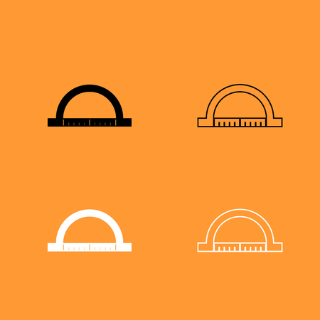 millimeters: Protractor it is black and white set icon . Illustration