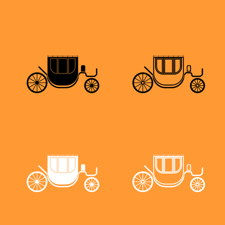 Carriage it is black and white set icon .