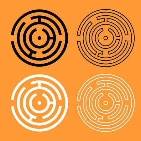 Circle maze or labyrinth it is black and white set icon .