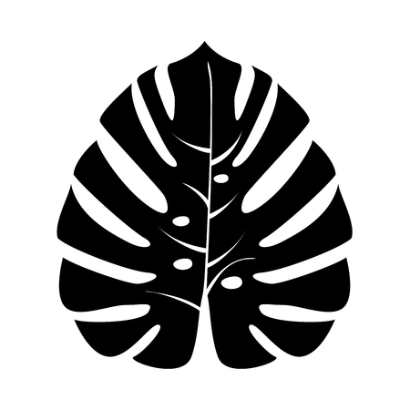 Tropical leaf it is black icon . Flat style