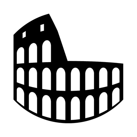 Coliseum it is black icon . Flat style