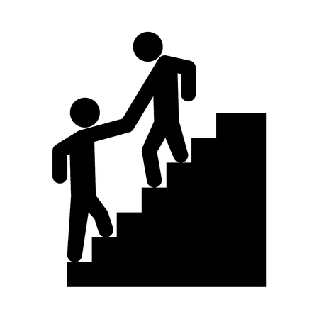 Man helping climb other man it is black icon . Flat style