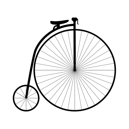 Retro bicycle it is black icon . Flat style Ilustração
