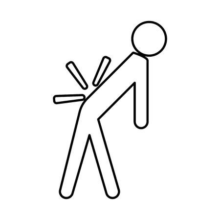 Hombre a con la espalda enferma. Icono negro de dolor de espalda.