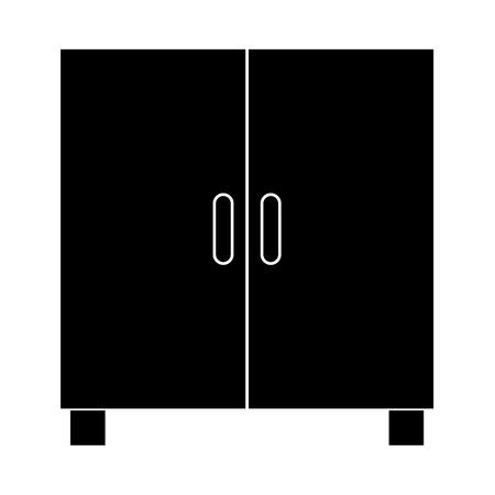 Cupboard or cabinet it is black icon . Flat style Illustration