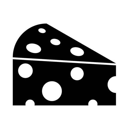 Piece cheese it is black icon . Flat style