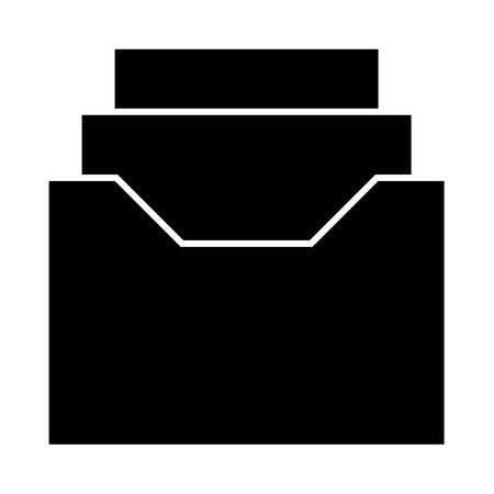 Documents archive or drawer it is black icon . Flat style Illustration