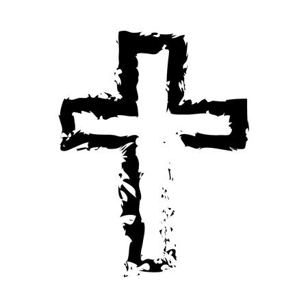 Cross it is black icon . Flat style