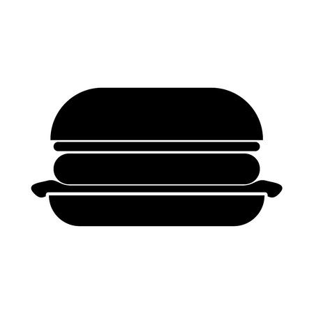 バーガーは黒いアイコンです。フラットスタイル