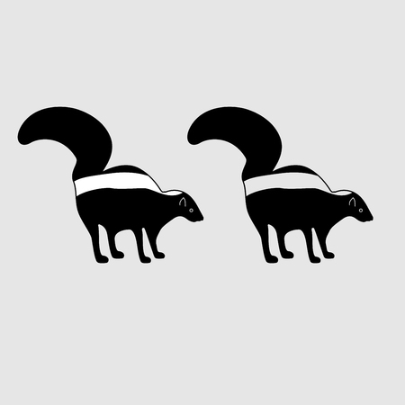 Skunk es un ícono negro. Estilo plano Vectores