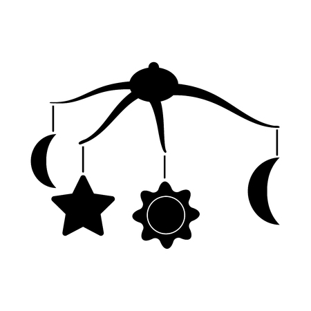 360 degrees rotating hanging rattles baby  it is black icon . Flat style Иллюстрация