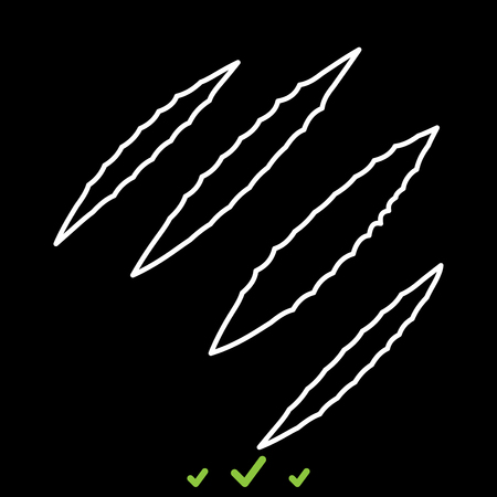 Trail of claws it is white icon . Flat style