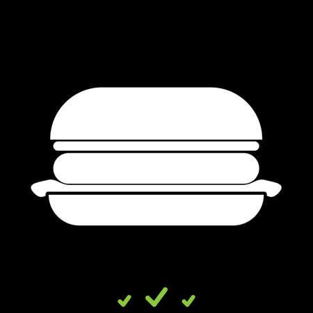 バーガーは白いアイコンです。フラットスタイル  イラスト・ベクター素材