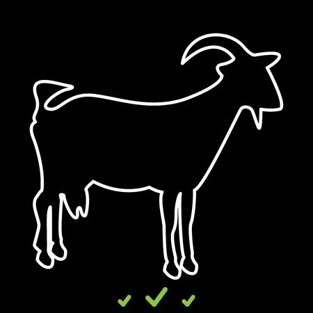 Goat it is white icon . Flat style Illustration