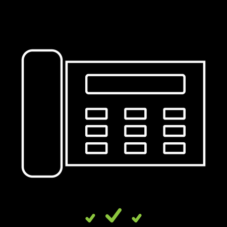Fax or telephone icon . Flat style