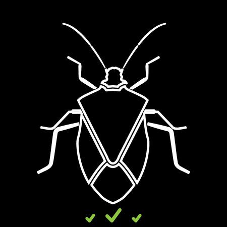 Bug  icon in white . Flat style Ilustrace