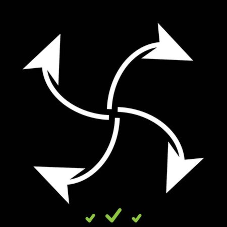 Four arrows in loop from  center it is white icon . Flat style