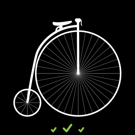 Retro bicycle it is white icon . Flat style