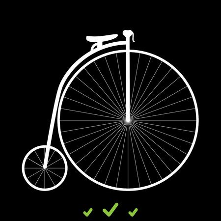 Retro bicycle it is white icon . Flat style